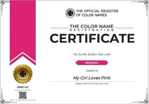 Color Name Certificate